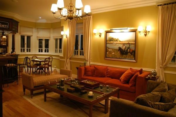 Wohnzimmer der La Villa Lodge, Tierra Del Fuego, Argentinien